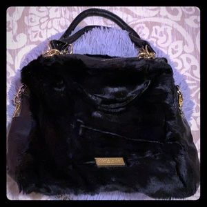 Faux fur black hand bag